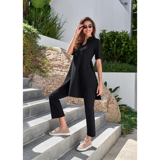 Sassenbach Bootcut-Hose oder Tunika Selten zieht ein schlichtes Outfit so viele Blicke auf sich: der cleane Zweiteiler aus  italienischem Hightech-Jersey.