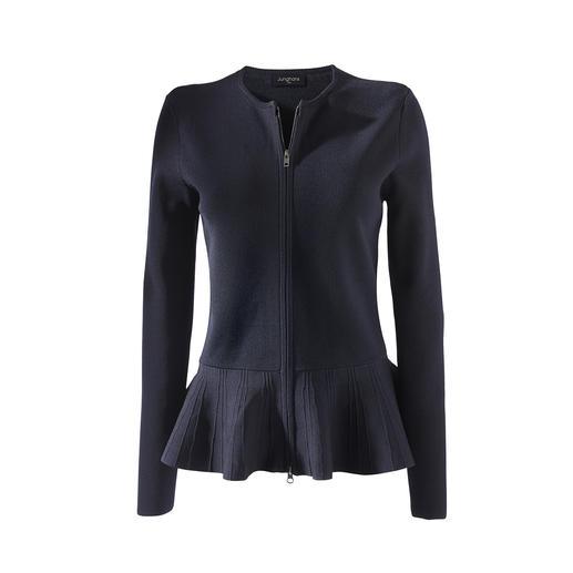 Die Schößchen-Strickjacke von Junghans 1954. Die Eleganz eines Couture-Blazers. Die Bequemlichkeit eines Cardigans.