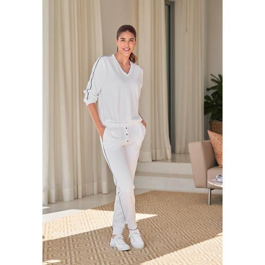 Der Loungewear-Anzug vom jungen, belgischen Label HFor. Wahlweise mit Kurz- oder Langarm-Sweater. Herrlich bequem. Trendgerecht straßentauglich. Und erfreulich erschwinglich.