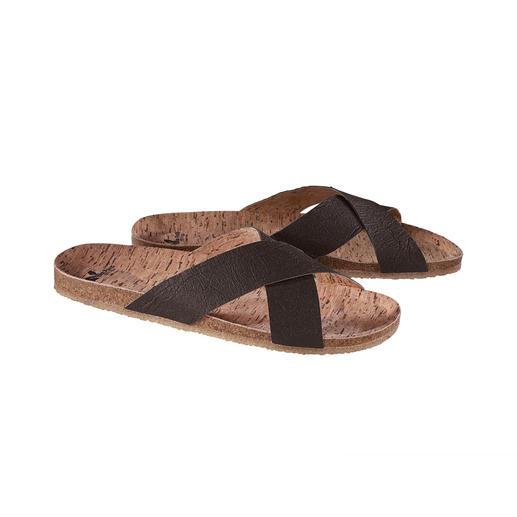 Vegane Sandale Die vegane Sandale mit bequemem Kork-Fußbett und flexibler, rutschfester Kautschuk-Sohle.