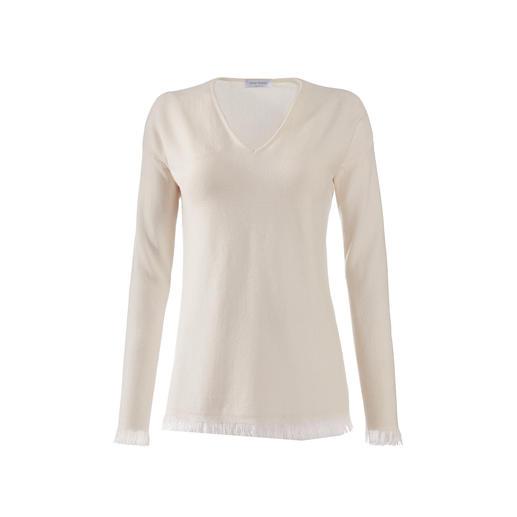 Gran Sasso Fransen-Pullover Fransen-Pullover sind jetzt modisch ganz weit vorn. Doch so elegant sind nur die wenigsten. Made in Italy - von Gran Sasso.