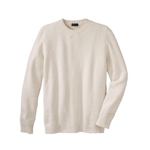 Endlich: die leichte, weiche (und ebenso warme) Alternative zu schweren Woll-Pullovern. Endlich: die leichte, weiche (und ebenso warme) Alternative zu schweren Woll-Pullovern. Flauschiges Baumwoll-Garn aus Italien.