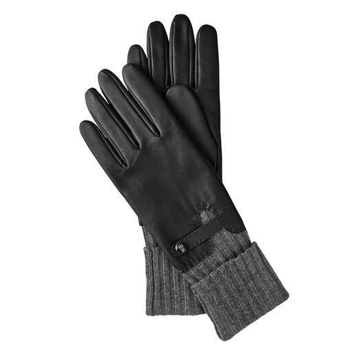 Konsequenter Kälteschutz: der edle Leder-Handschuh mit integrierter Stulpe. Konsequenter Kälteschutz: der edle Leder-Handschuh mit integrierter Stulpe.