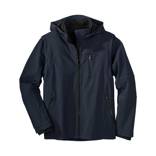 Die Softshell-Jacke, die im Handumdrehen zur leichten Weste wird. Schlank, leicht und trotzdem warm. Für Herren.