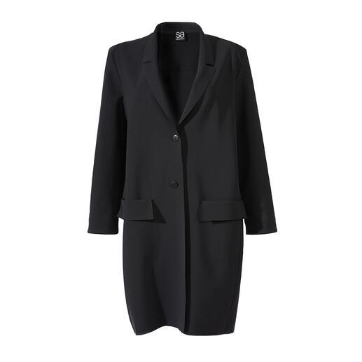 Der zeitgemäße, klassische Blazer-Mantel von Sassenbach ist ein wahres Must-have für jede Basis-Garderobe. Fair und nachhaltig in Deutschland gefertigt.