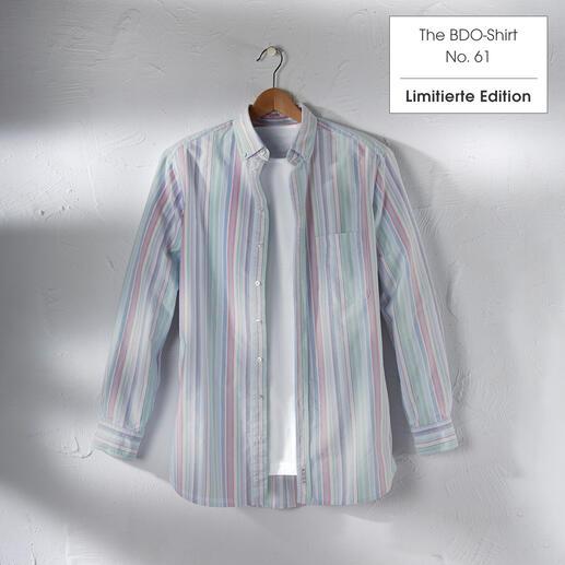 Das limitierte BDO-Shirt aus luftig-feinem Oxfordgewebe. Entdecken Sie einen guten alten Freund. Und vergessen Sie, dass ein Hemd gebügelt werden muss.