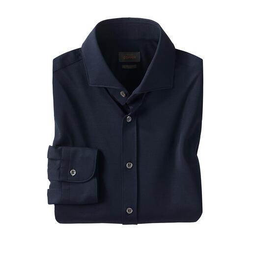 Das erste Hemd aus der revolutionären EVO®-Faser:  funktionsstark und umweltfreundlich. Leichter, frischer Piqué-Jersey - schnell trocknend und bügelfrei. Von Edward Copper.