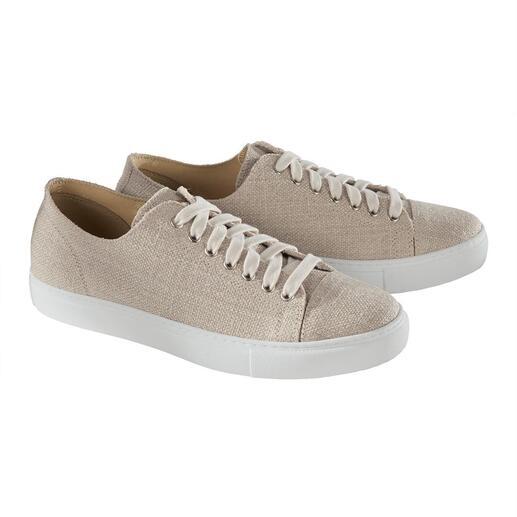 Der Sneaker aus Hanf. Für Sie und Ihn. Made in Italy von Risorse Future, seit 1955. Luftig wie Leinen, aber viel strapazierfähiger. Und trotzdem weich und bequem.