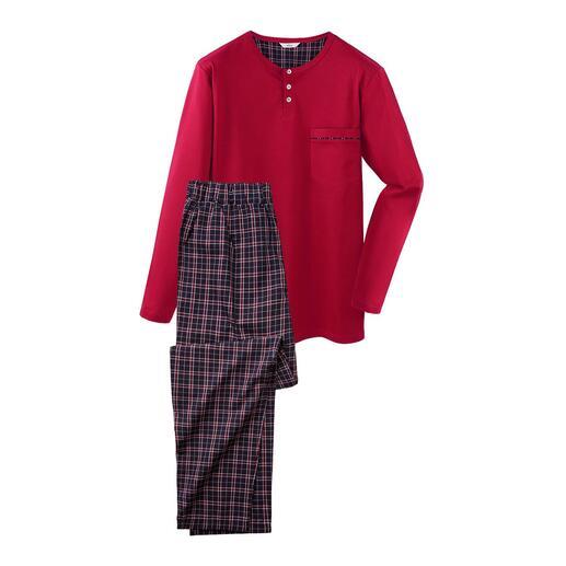 Der perfekte Gentleman-Pyjama: Bequem. Luftig. Edel. Aus feinem, herrlich anschmiegsamem Baumwoll-Jersey.
