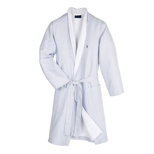 Der edle Preppy-Bademantel von Ralph Lauren, New York. So stilvoll sind nur wenige: außen Oxford-Hemdenstoff, innen saugstarker Frottier.