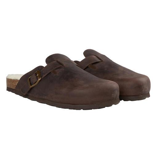 Die klassischen Clogs für die kalte Jahreszeit. Handgefertigt in Spanien. Dickes, robustes Rindleder. Weiches, wärmendes Lammfell-Fußbett.