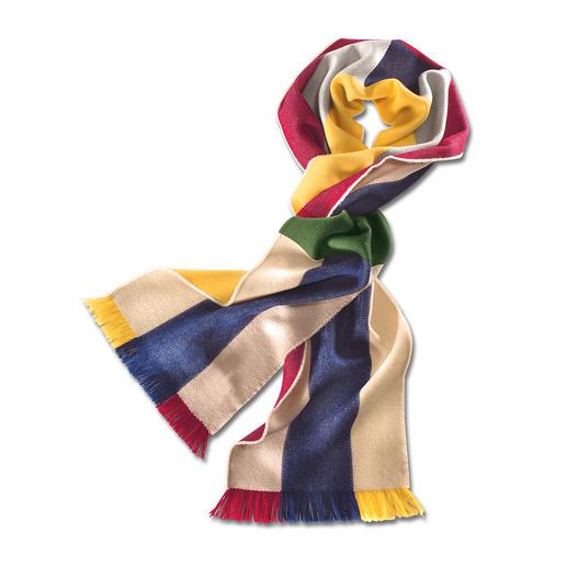 Der bunte Schal für unzählige Kombinationen. Von Johnstons/Schottland. Aus extrafeiner Merinowolle. Weich, leicht, wärmend.