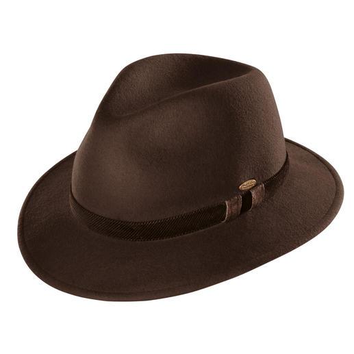 Mayser-Winterhut, Taupe Stilvoll wie ein Hut, aber wärmend wie eine Mütze. Von Mayser, deutsche Hutmacherkunst seit 1800.