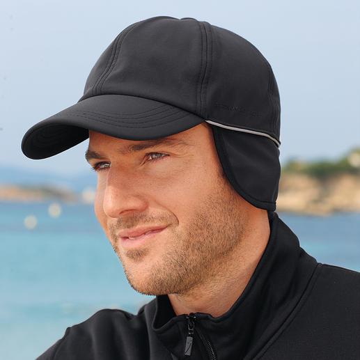 Softshell-Kappe Endlich eine Kappe, die Feuchtigkeit und Wind abweist.  Aus atmungsaktivem, wärmendem Softshell.