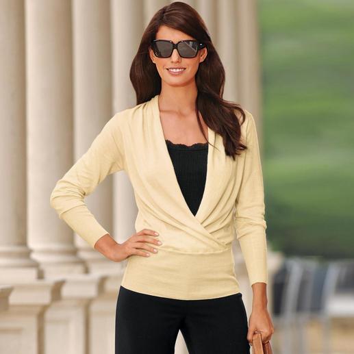 """Schalkragen-Pullover """"Silhouette"""" - Ihr femininster Basic-Pullover: Wickeloptik. Schalkragen. Breiter Bund.  Aus Baumwolle mit Kaschmir."""