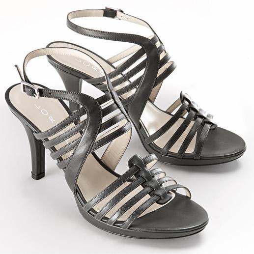 Lorbac Riemchen-Sandalette, Grau - Elegante Sandalette. Unerwartet komfortabel. Ein Schaumstoffkern formt Ihr individuelles Fußbett.