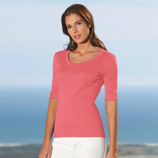 Warum sucht die ganze Welt nach dem Shirt aus Österreich? Aus feinster, mercerisierter Baumwolle.