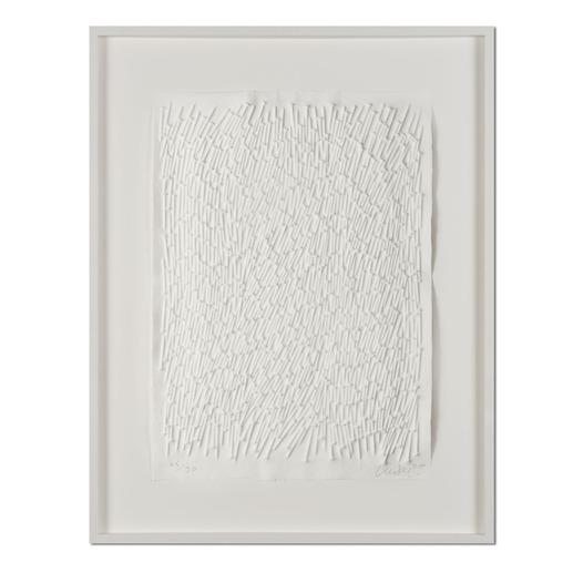 Günther Uecker – Feld, 2011 - Prägedruck auf 300-g-Büttenpapier  Auflage: 90 Exemplare   Exemplar: e. a.  Blattgröße (B x H): 50 x 70 cm   Maße: gerahmt 73 x 93 cm