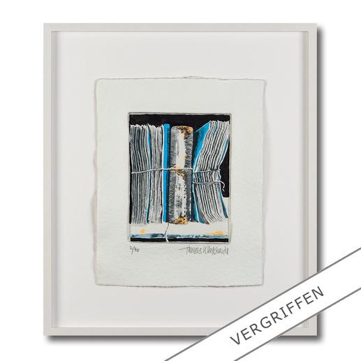 Thomas Kleemann – Archiv blau Eine der dicksten Grafiken der Welt: Thomas Kleemanns erste dreidimensionale Edition. Handbemalt. Hergestellt in einem geheimen Verfahren. 40 Exemplare – mit Unikatcharakter.