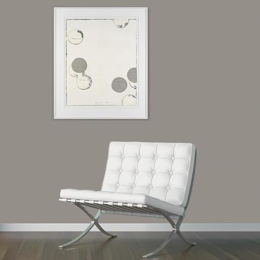 Ein einzigartiges Kunstwerk, das durch die Verwendung der klassischen Töne auf weißlich-grau-gebrochenem Farbgrund sofort Jupp Linssen zuzuordnen ist.