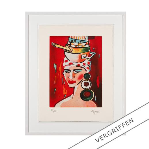Elvira Bach – Kopftuch 2010 - Unverkennbar Elvira Bach: Eines ihrer weltberühmten Frauenportraits als Radierung. Die letzten 20 Exemplare der 99er-Edition.