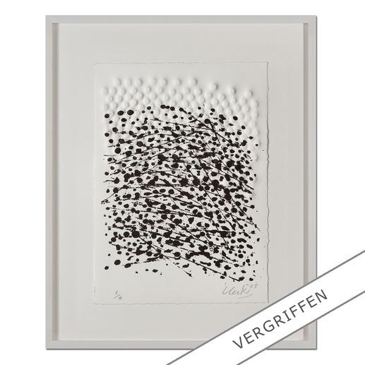 Günther Uecker – Strömung I, 2005 - Prägedruck mit Lithografie auf 300-g-Büttenpapier  Auflage: 99 Exemplare   Exemplar: e. a.  Blattgröße (B x H): 28 x 38 cm   Größe mit Rahmung: 43 x 53 cm