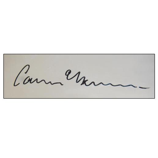 Signatur des Künstlers auf der Rückseite des Werkes.