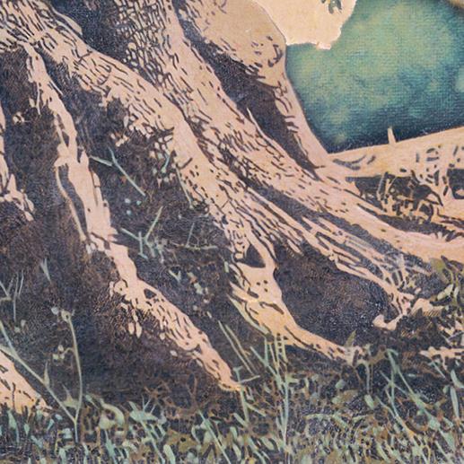 Die alten Wurzeln wurden detailgetreu auf Leinwand festgehalten.