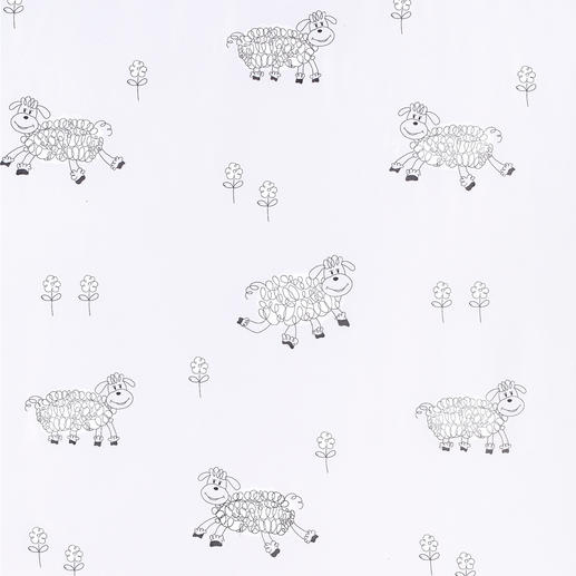 """Store """"Sheep"""", 1 Store Die schönste Vorlage zum Schäfchenzählen.  In Überbreite von 3 Metern gewebt: Keine Ansatznaht im zarten Voile."""