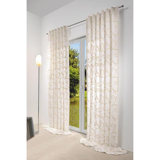 """Vorhang """"Impression"""", 1 Vorhang - Dreidimensionale Ornamente aus plastischer Dochtstickerei veredeln diesen Vorhang."""