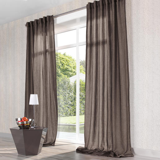 Vorhang Mirage - 1 Stück - Seltenes Doppelgewebe aus duftigem Chiffon und lockerem Panama.