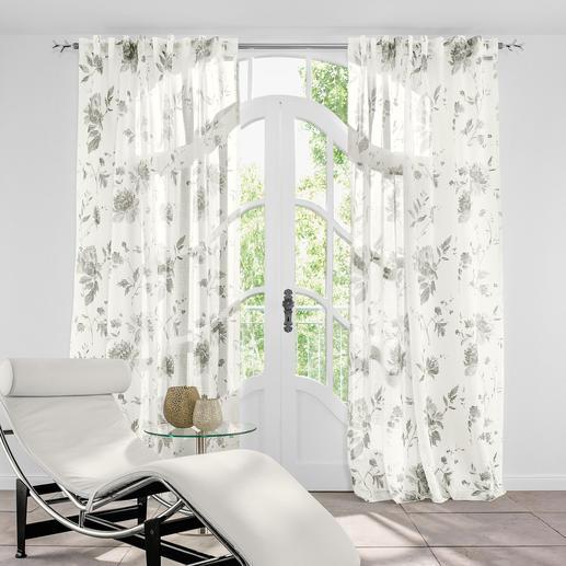 Vorhang Provenza - 1 Stück Trendgerecht und dennoch rar: Horizontaler Transparent-Streifen aus Halbleinen.
