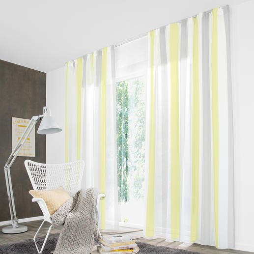 Store/Gardine Pastel Stripe - 1 Stück Klassiker und Trend-Thema zugleich: Blockstreifen. Auf transparenten Stores eine Rarität.