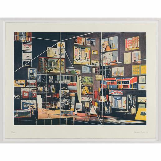 Thomas Huber – Das Kabinett der Bilder - 83 Werke Thomas Huber`s in einem einzigen Bild. Signierte Originalgrafik – inkl. Werkverzeichnis als zusätzliche Grafik.