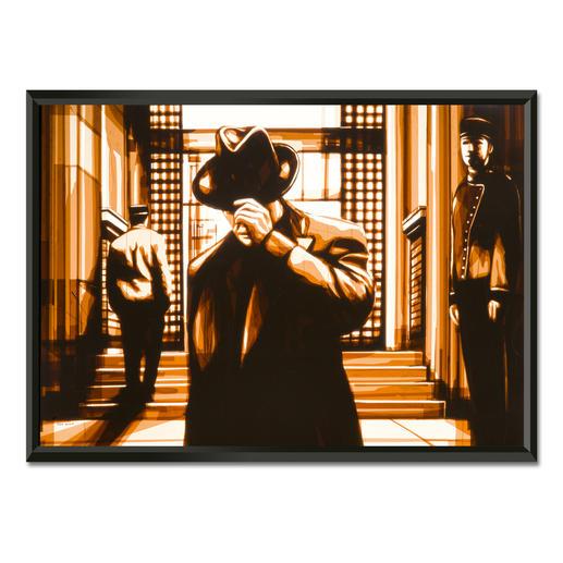 """Max Zorn: """"It has been a while"""" - Max Zorn: Unfassbar, dass seine Originale ausschließlich aus Klebeband bestehen. Ausdrucksstarke Reproduktion auf Acrylglas – einzigartig präsentiert in einem beleuchteten, kabellosen Objektrahmen. Erste Edition mit 20 Exemplaren."""