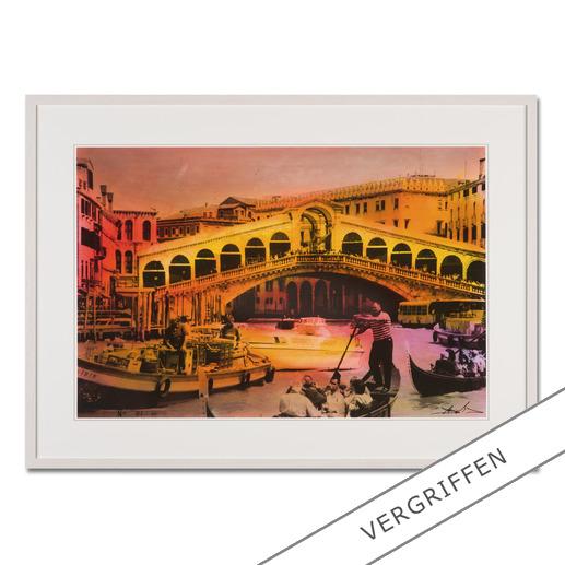 Helle Jetzig – Rialtobrücke P1 - Helle Jetzigs Venedig: Einzigartige Technik aus Malerei, Siebdruck und Schwarz-Weiß-Fotografie. Erste Papier-Edition, die nachträglich mit einem Siebdruck versehen wurde. 40 Exemplare.