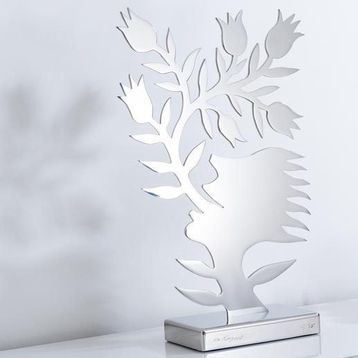 Ren Rong – Blumensprache, Edelstahl Das berühmteste Motiv eines der renommiertesten chinesischen Künstler.Ren Rongs Pflanzenmensch als limitierte Edelstahl-Edition. Maße: 61 x 36 cm