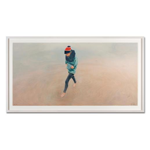 """Mädchen am Meer"", gerahmt 176 x 97 cm."
