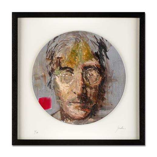 "Oliver Jordan – John Lennon - Oliver Jordans Schallplatten-Edition ""John Lennon"". Handübermalt – jedes der 60 Exemplare ein Unikat. Maße: gerahmt 42,5 x 42,5 cm"