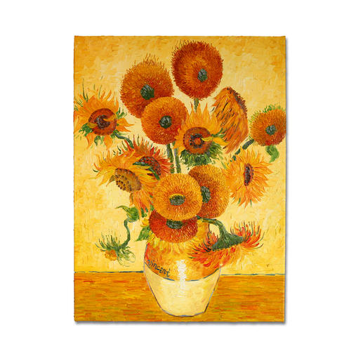 "Zhao Xiaoyong malt Vincent van Gogh: ""15 Sonnenblumen in einer Vase"" - Vincent van Goghs Sonnenblumen: Die perfekte Kunstkopie – 100 % von Hand in Öl gemalt."