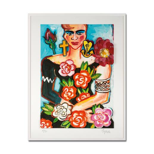 Elvira Bach – Magnolia - Unverkennbar Elvira Bach: Eines ihrer weltberühmten Frauenportraits – erstmalig als 3D-Edition. 30 Exemplare. Maße: gerahmt 84 x 104 cm