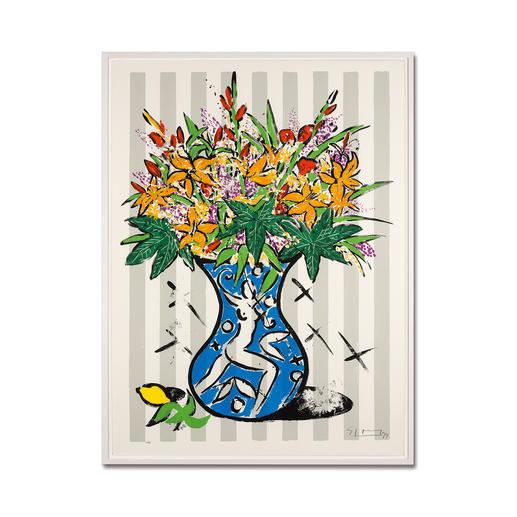 """Stefan Szczesny: """"Flowers on Stripes"""" - Stefan Szczesnys großformatigste Grafik-Edition. Im Format 120 x 160 cm. 60 Exemplare."""
