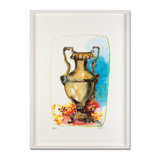 Markus Lüpertz – Vase 1 - Keine Lüpertz-Edition ist wie diese. Einer seiner seltenen farbenfrohen Siebdrucke. Gering limitiert mit 40 Exemplaren. Maße: gerahmt 57 x 79 cm
