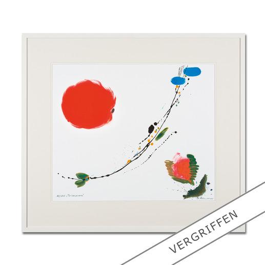 Brigitta Zeumer – Primavera - Die erste deutsche Künstlerin, die zu Lebzeiten im Kaiserpalast in China ausstellen durfte. Brigitta Zeumers Siebdruck aus 15 Farben. 100 Exemplare.