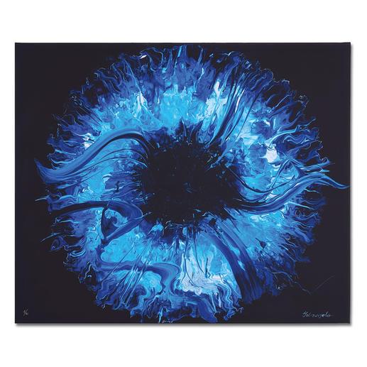 Yelizavyeta – Blue Space - Erste Edition der Künstlerin Yelizavyeta – von Hand übermalt. Faszinierende Dreidimensionalität. 40 Exemplare. Exklusiv bei Pro-Idee. Maße:  120 x 100 cm