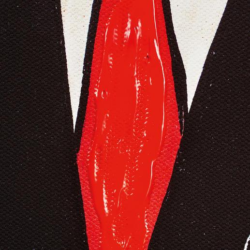Die Krawatte ist von Hand übermalt.