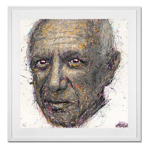 STALE – Think different/Picasso - STALE: Senkrechtstarter dank weltweit einzigartiger Technik. Bemerkenswertes Picasso-Portrait im Action Painting erschaffen. 40 Exemplare. Maße: gerahmt 72 x 72 cm