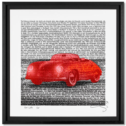 SAXA – Rot. Licht. Handkolorierte Unikatserie von SAXA: Einzigartige Wortmalerei in ihrer klarsten Form. Verbildlichte Biografie von Ferdinand Porsche. 25 Exemplare. Exklusiv bei Pro-Idee. Maße: gerahmt 69 x 69 cm.