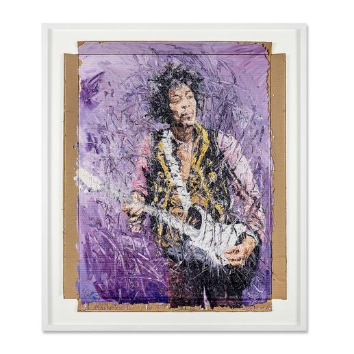 Oliver Jordan – Jimi Hendrix Oliver Jordans zweite Jimi-Hendrix-Auflage (die erste war nach kurzer Zeit ausverkauft). Exklusive Pro-Idee-Edition auf Kartonage. 20 Exemplare. Maße: gerahmt 92 x 108 cm