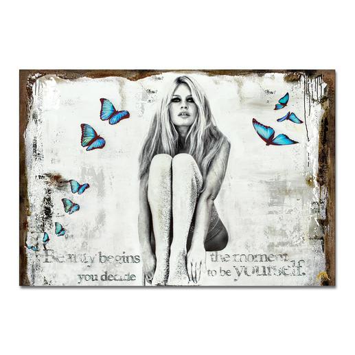 """Devin Miles – Butterflies II Devin Miles: Der Shootingstar der deutschen """"Modern Pop-Art"""".  Unikatserie aus Malerei und Siebdruck auf gespachtelter Leinwand. 100 % Handarbeit. Maße: 122 x 84 cm"""